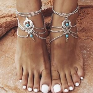 Turquoise Silver Foot Chain Bead Anklet Bracelet